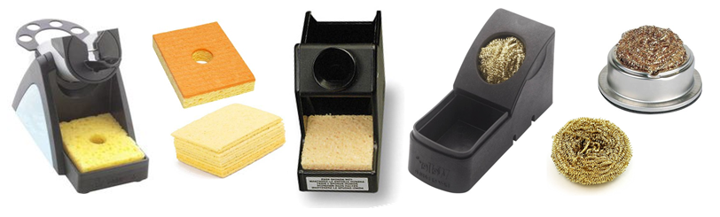 Éponges de nettoyage des pannes et support de fer à souder.