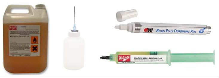 Flux de brasure : en bidon, seringue ou stylo dispenseur.