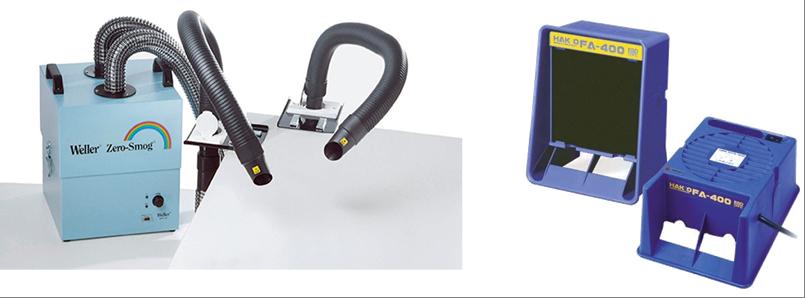 Unité d'extraction de fumée équipée d'un système de filtrage (Gauche) ou portable (droite).
