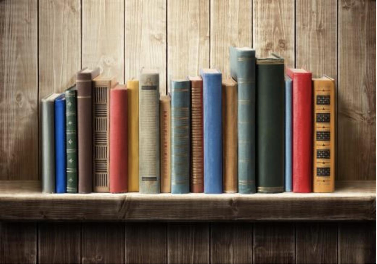 Une étagère de livres de différentes tailles, couleurs et longueurs