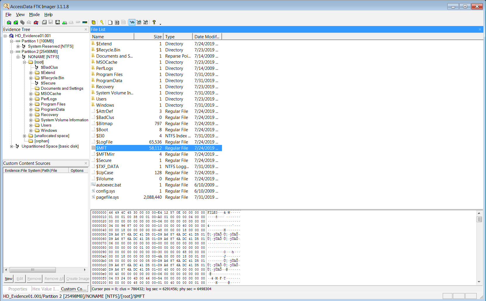 Emplacement fichier MFT