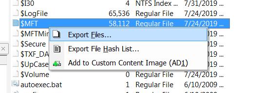 Exportation de la MFT avec FTK imager