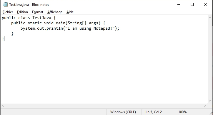 Code Java sur Notepad