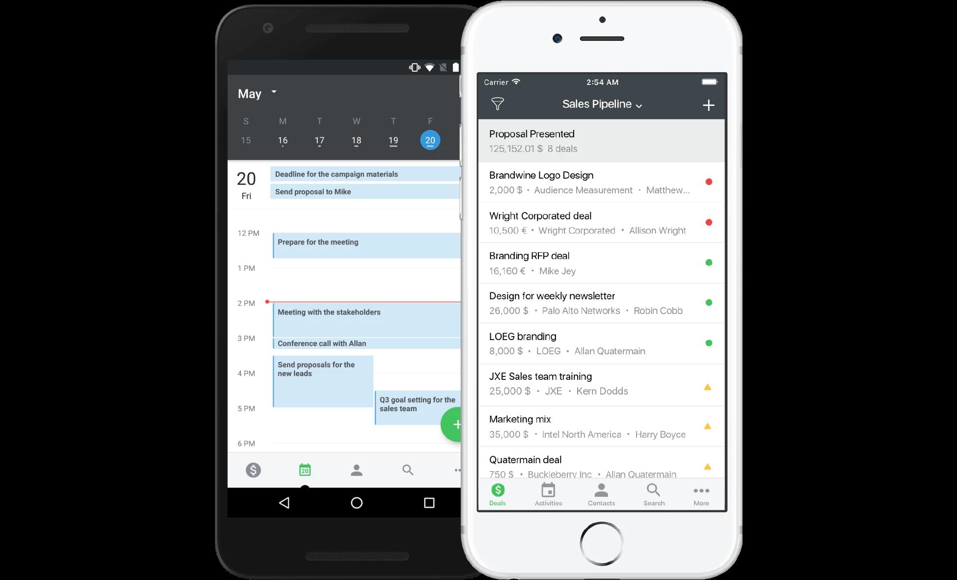 Exemple de PipeDrive synchronisé avec Google Agenda