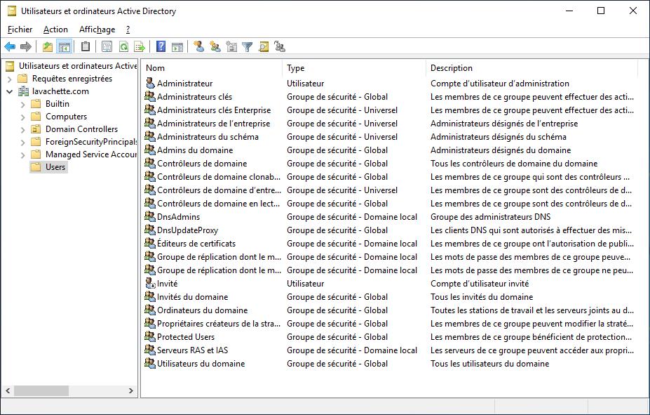 Contenu de votre Active Directory