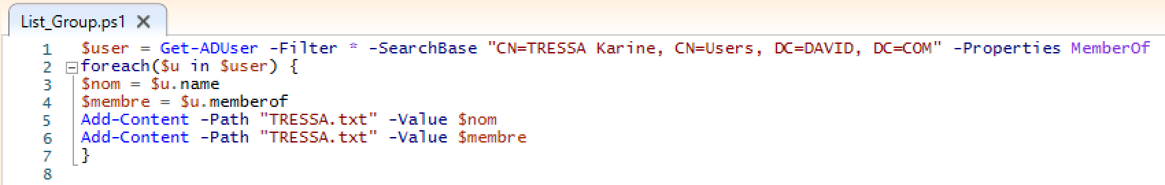 Script de filtre des parcours de Karine sur PowerShell ISE