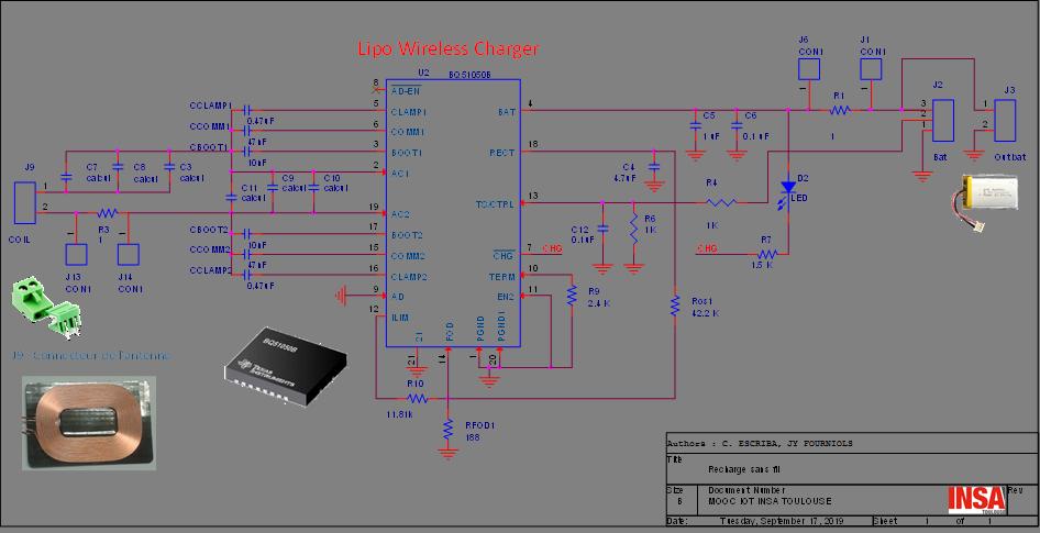 Schématique du chargeur de batterie Lipo BQ51050B