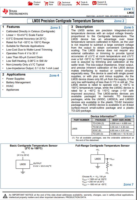 Document technique du capteur LM35