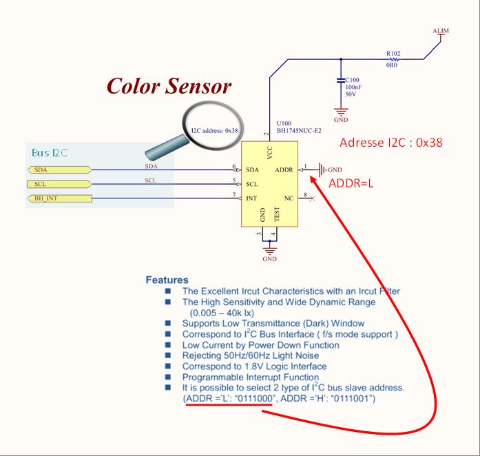Capteur de couleur connecté à son bus I2C