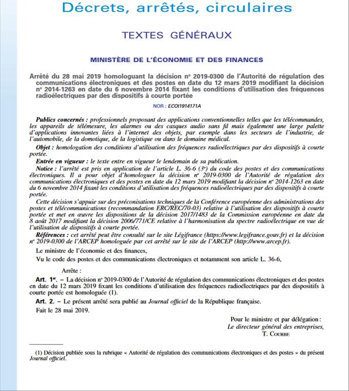Source : https://www.arcep.fr/la-regulation/telecom-et-numerique/les-arretes-dapplication-et-les-circulaires.html