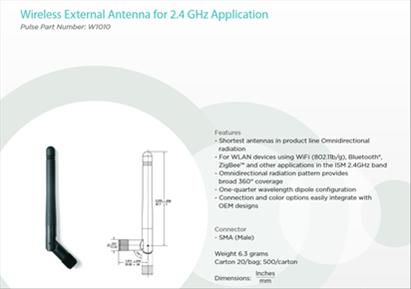 Antenne hélicoïdale : https://www.mouser.fr/datasheet/2/336/W1010-1527083.pdf