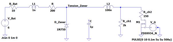 Circuit de simulation de la tentative de stabilisation de tenson à l'aide d'une diode Zener