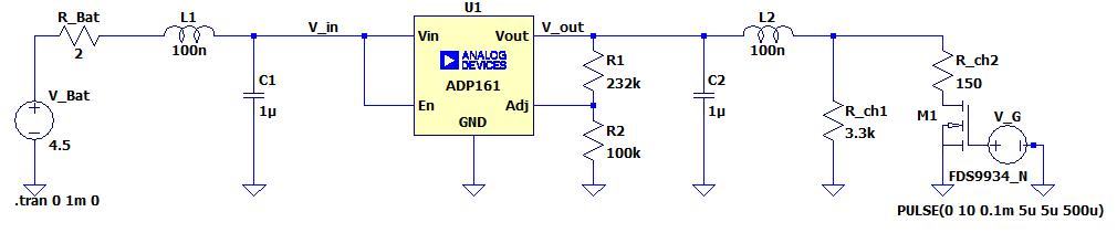 Circuit de simulation du rôle du LDO ADP161 dans la régulation de tension