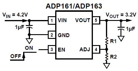 Schéma d'application du ADP161 fourni par le fabricant