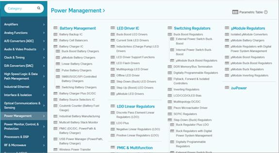 Page Web du constructeur Analog Device qui référence le catalogue des composants dédiés à la gestion de l'énergie.  https://www.analog.com, choisir rubrique « Power Management »