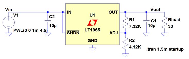 Schéma d'application du LT1965