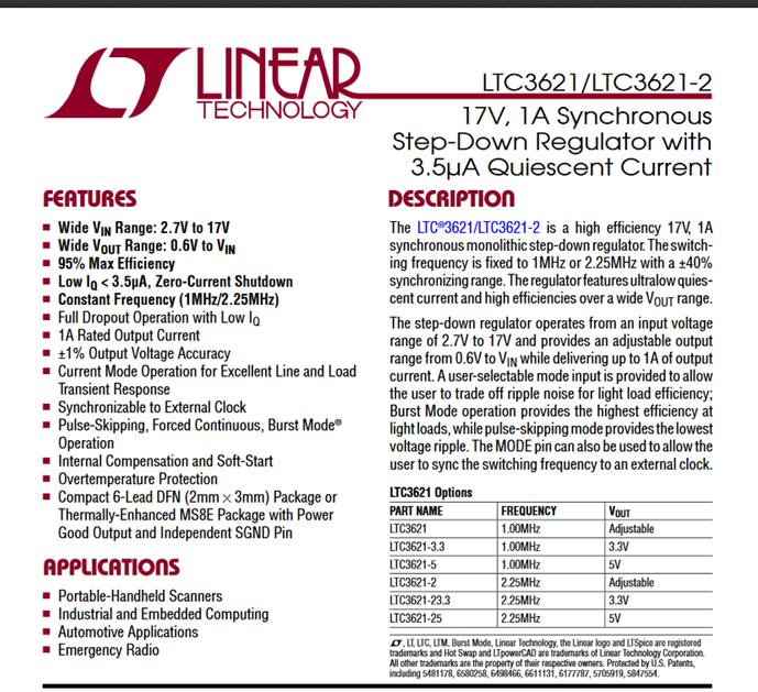 Description générale d'un régulateur LDO de référence LTC3621