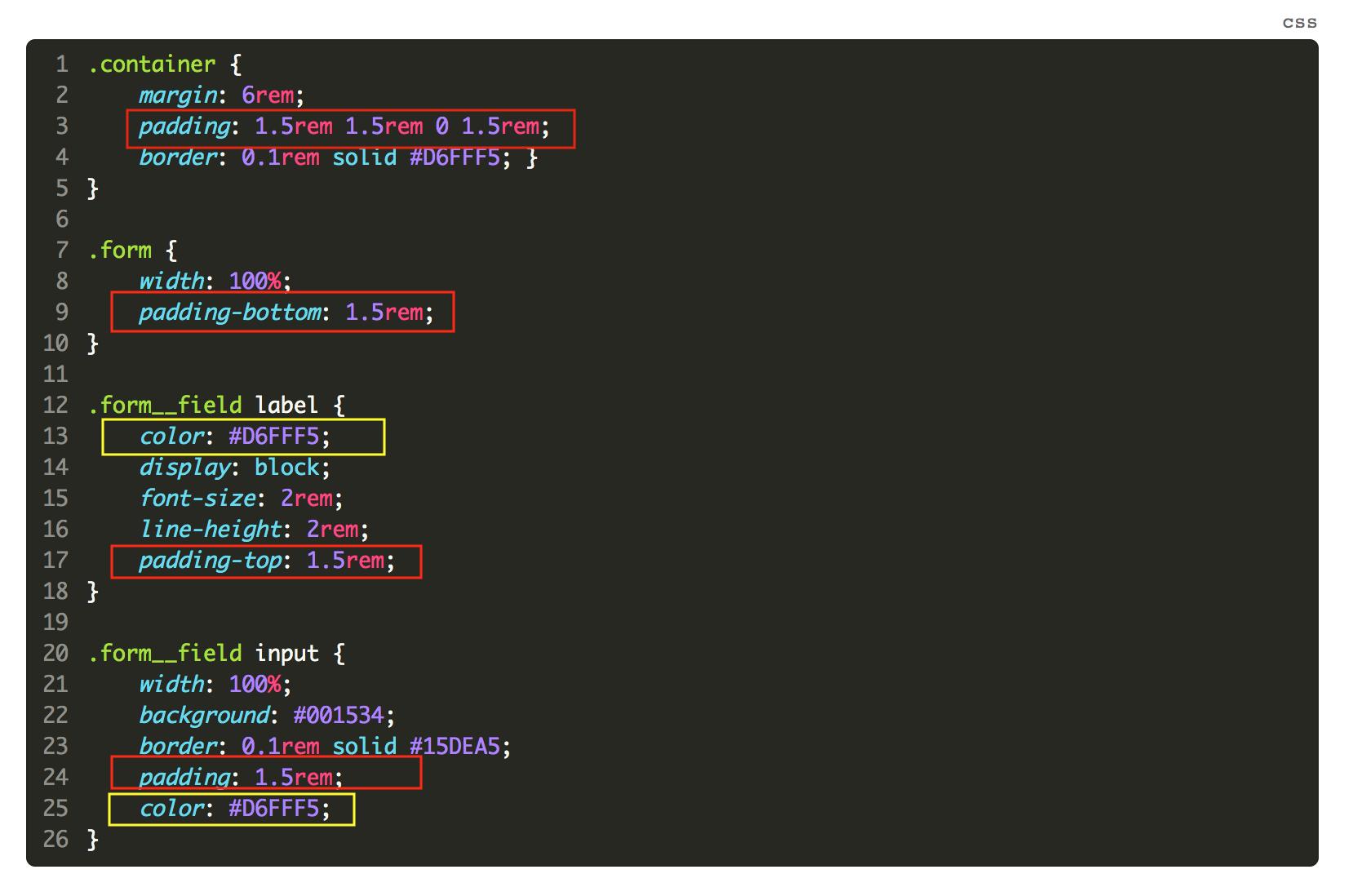 Image montrant les endroits où le code se répète.