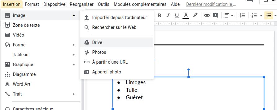 Insertion directe de l'image sur le texte