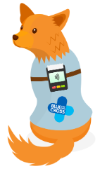Drawn image of a dog equipped with contactless card technology.