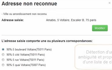 L'adresse est incorrecte : le logiciel propose des corrections automatiques.