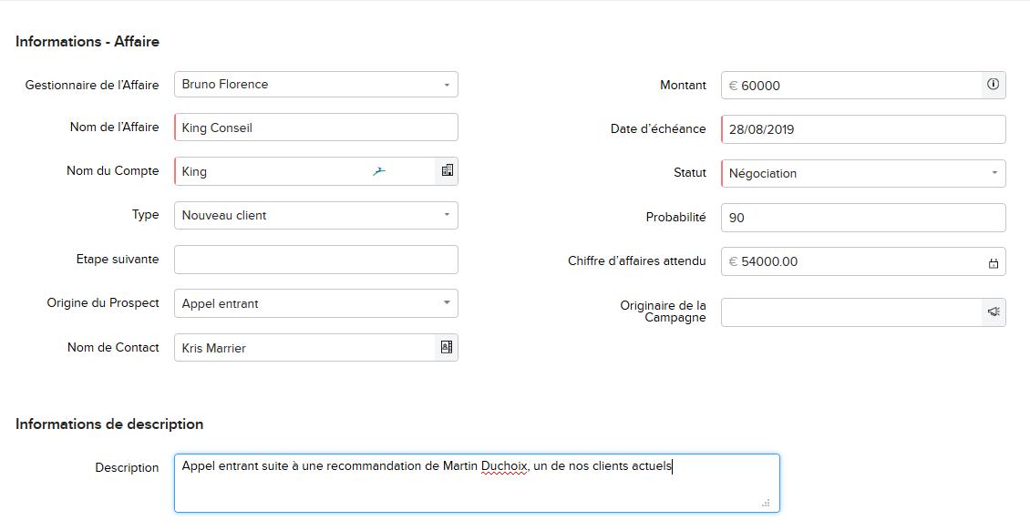 Exemple de fiche opportunités/affaire avec Zohoo