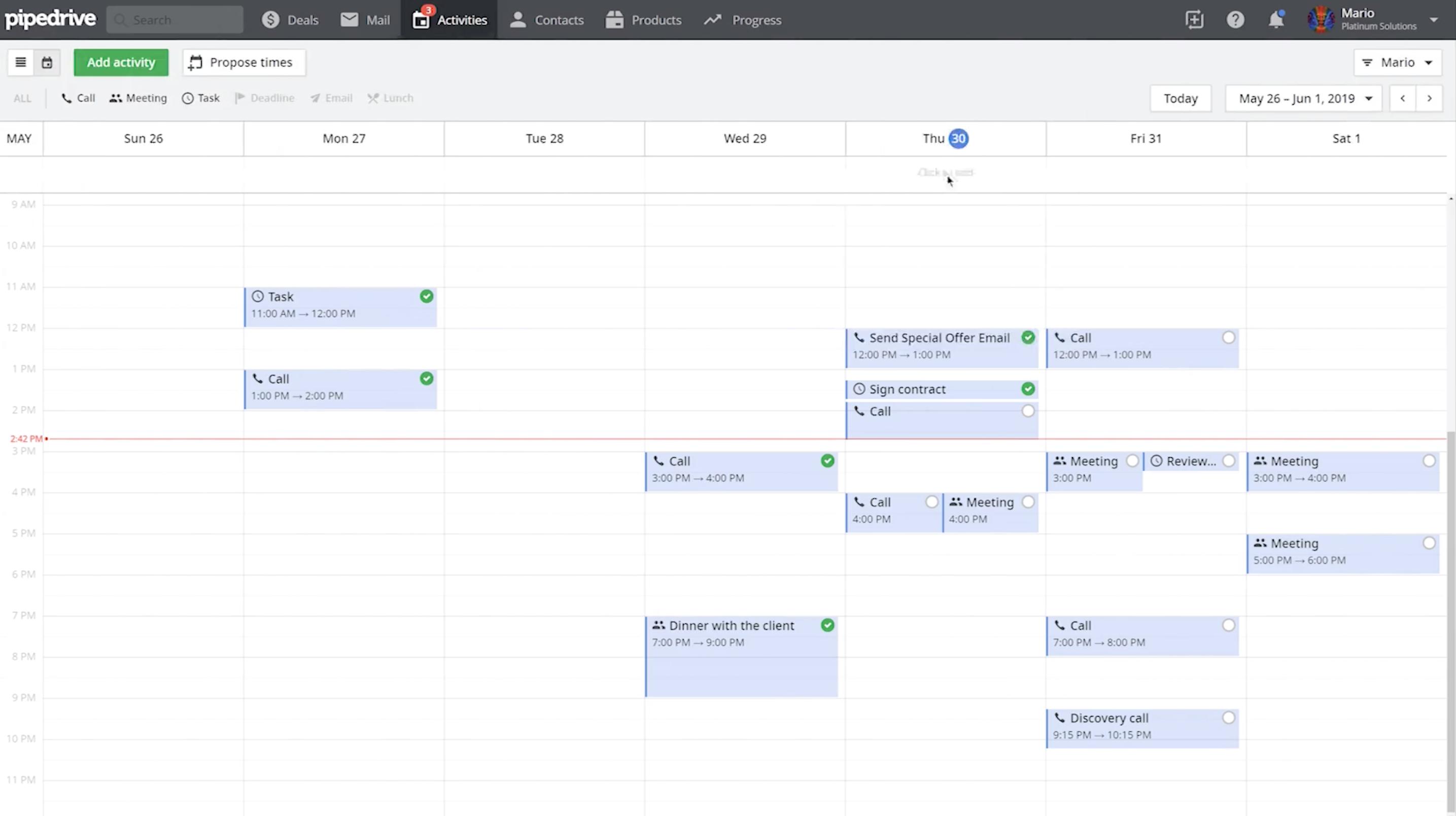 Vous retrouvez ici toutes vos activités sous forme d'un calendrier classique !