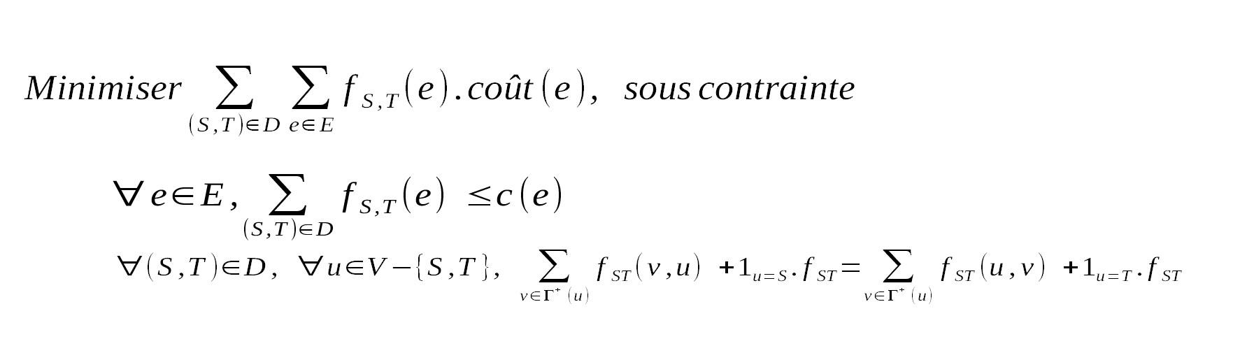 Programme linéaire du multiflot