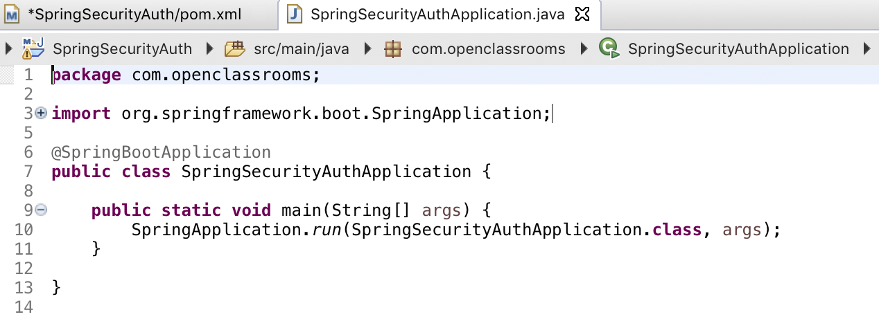 Your Spring Boot main class file