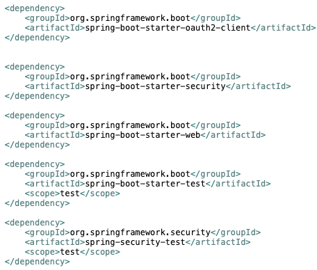 The Spring Boot Test and Spring Security Test Dependencies