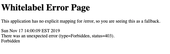 Default Spring Security 403 Error Page
