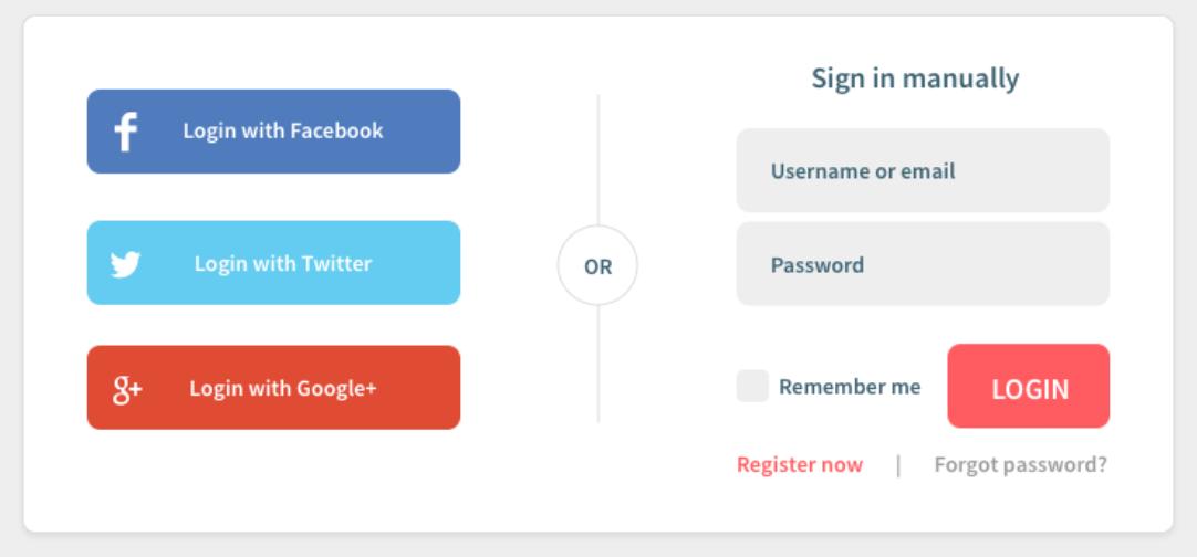 Register/Login button via Facebook or Twitter - Source: Medium