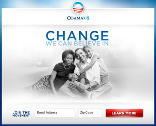 Landing page adopted from Barak Obama's campaign website. The