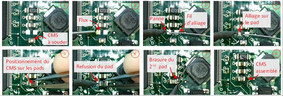 Assemblage d'un condensateur CMS.