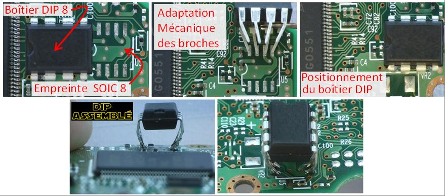 Adaptation d'un package DIP sur un footprint SOIC.