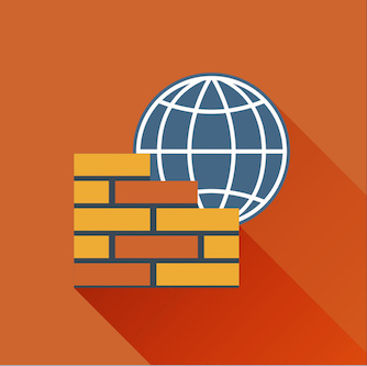 A brick wall in front of an internet icon