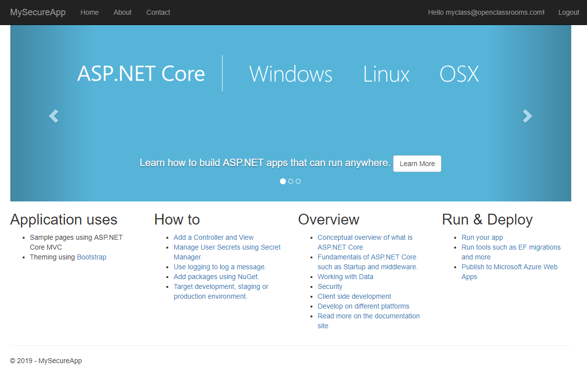 The homepage of ASP.NET Core Identity, with the Register option replaced by your personal login ID.