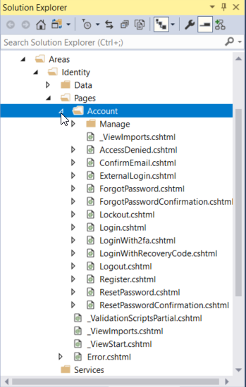 View the added code in the Solution Explorer. Select Areas, Identity, Pages, Account.