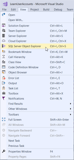 Select SQL Server Object Explorer (SSOX) from the View menu.