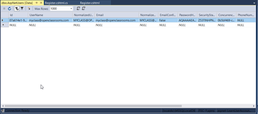 Data window showing the contents of the AspNet Users table.