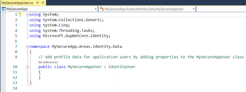Your MySecureApp file open in the editor. Line 7 reads:
