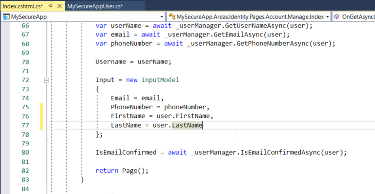 Values have been assigned from the user class to the properties in the InputModel class: Email, PhoneNumber, FirstName, and LastName.