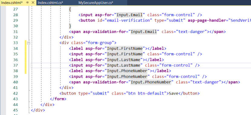Insert the form elements into the form group