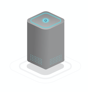 Image of a smart speaker. It has a microphone to detect natural human language and speakers to respond appropriately.