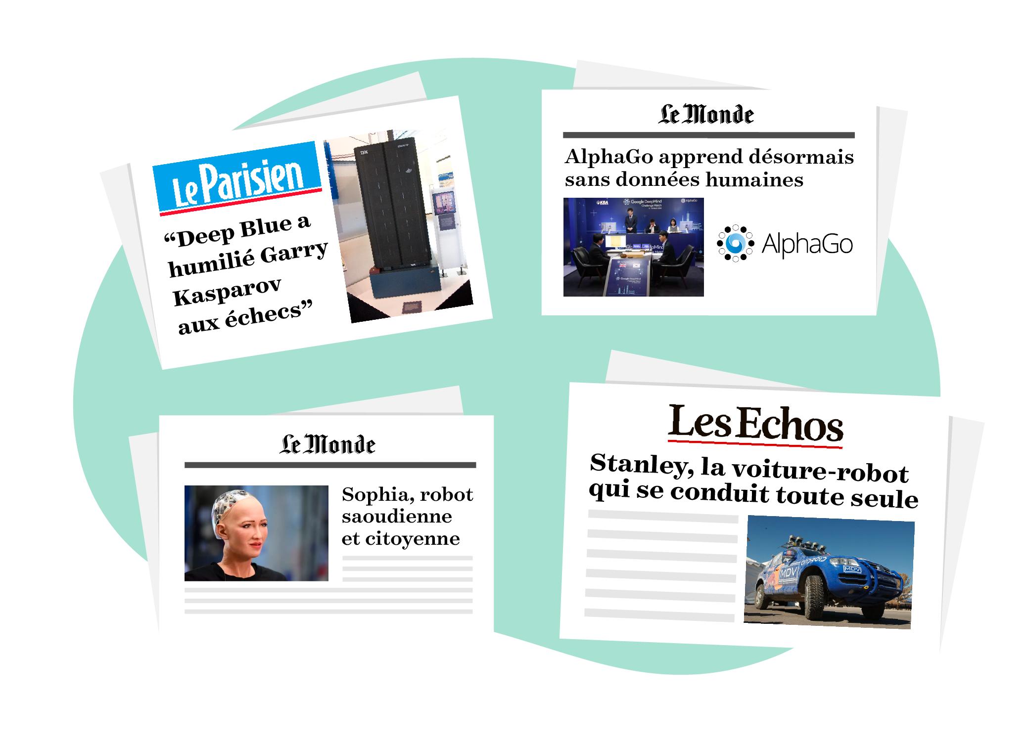 quelques titres de journaux sur des événements Deep Blue, AlphaGo, ou encore plus récemment Sophia d'Hanson Robotics ou les premières voitures autonomes