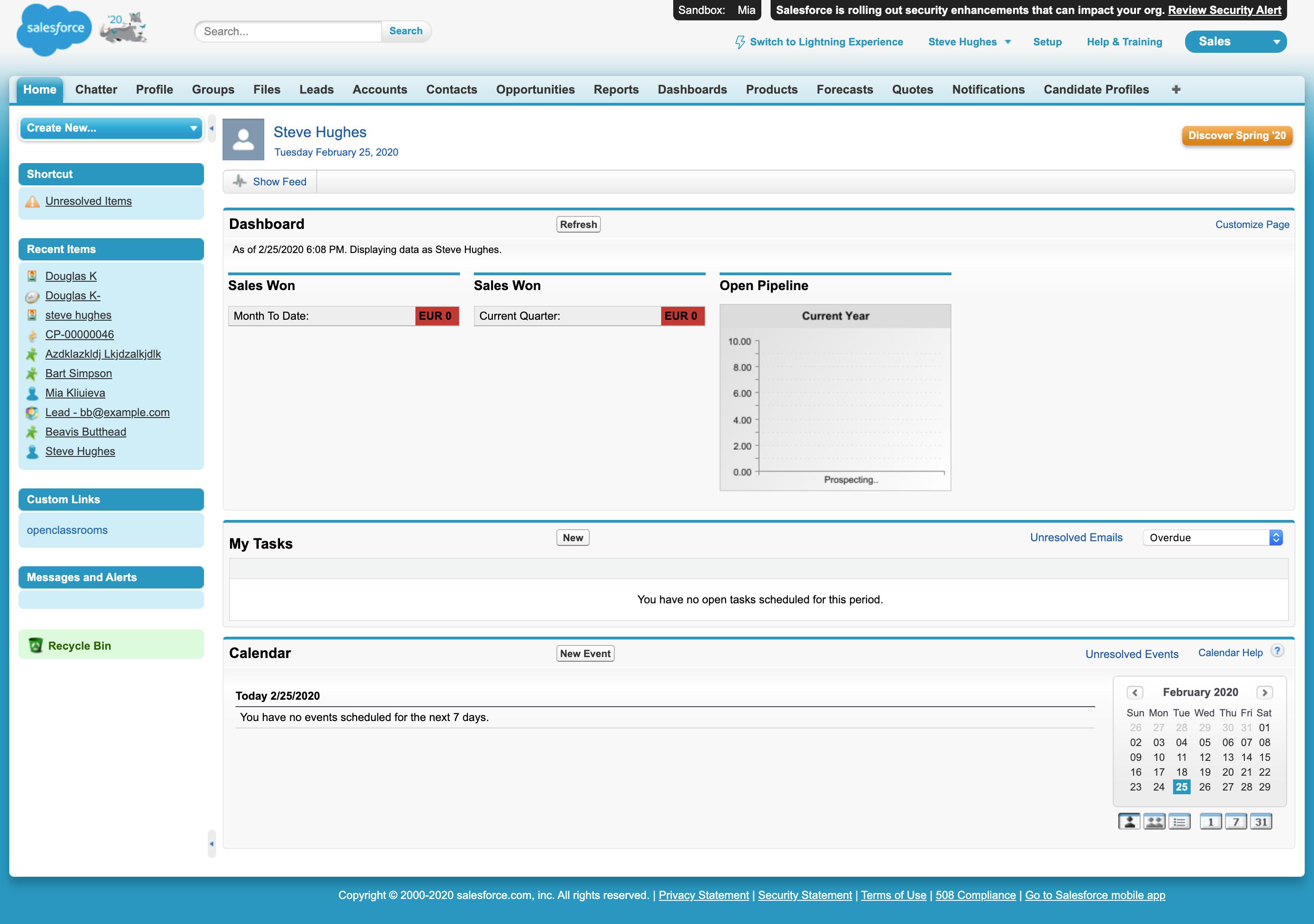 Vue de la page d'accueil du CRM Salesforce