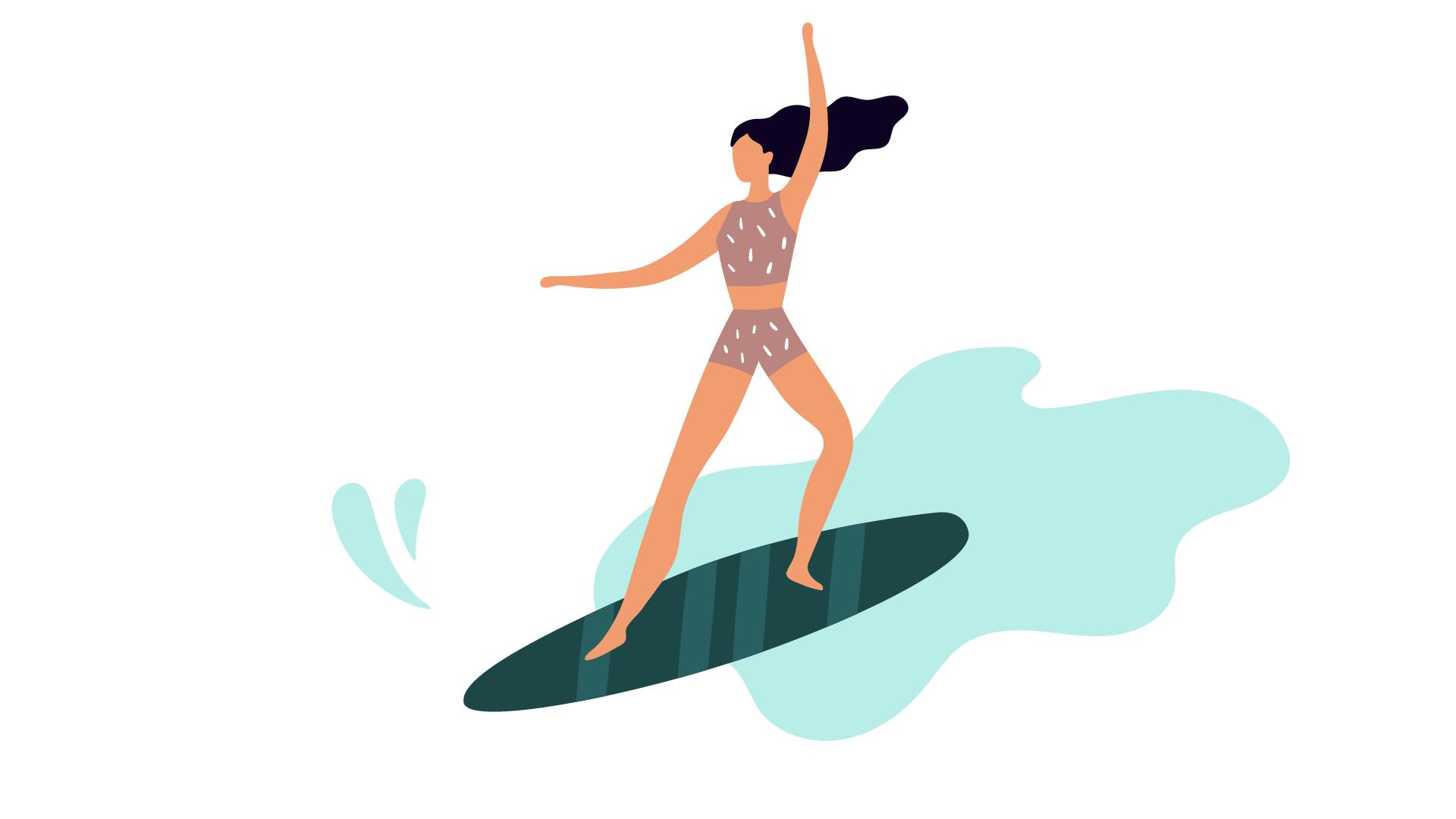 Une personne qui surfe sur la vague