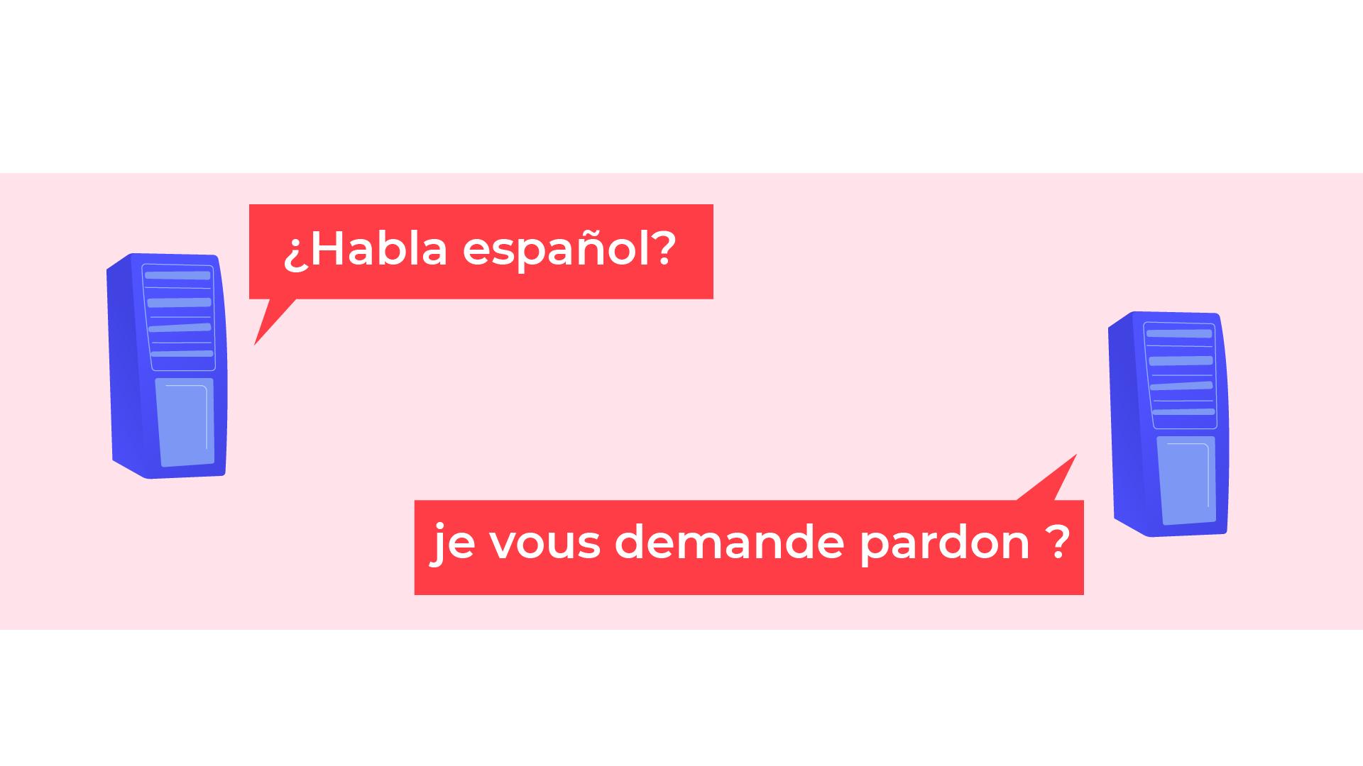 Le serveur à gauche du schéma demande, en espagnol, à l'autre serveur s'il parle espagnol. L'autre lui répond: