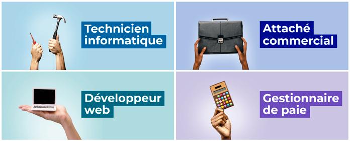 Les 4 métiers : Développeur Web, Technicien Informatique, Gestionnaire de Paie, Commercial Chargé d'Affaires