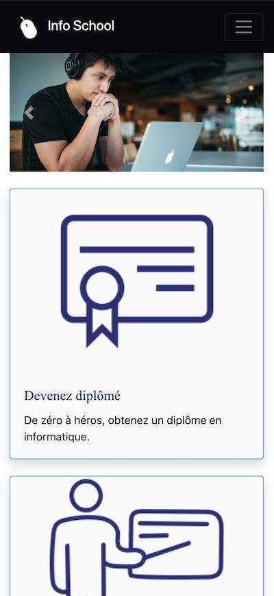 Conception de la page d'accueil pour des écrans plus petits